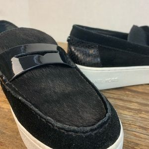 Michael Kors Black Calf Hair Suede Leather Sneaker